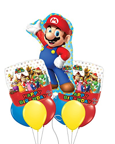 Super Size Super Mario Happy Birthday Balloon Bouquet (Super Mario Day)