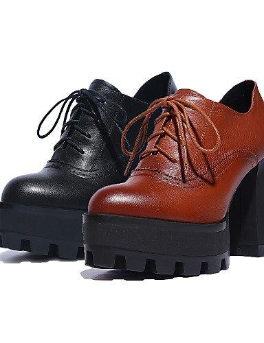 NJX/ hug Damenschuhe - High Heels / Stiefel - Outddor - Leder / Nappa Leather - Blockabsatz - Absätze / Plateau / Rundeschuh - Schwarz / Braun brown-us6.5-7 / eu37 / uk4.5-5 / cn37