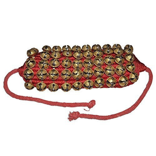 Prisha India Craft ® Kathak (5) Five Line Big Bells (16 No. Ghungroo) Good Quality Ghungroo Red Pad Indian Classical Dancers Anklet Musical Instrument Bharatnatyam, Kuchipudi, Odissi Ghungru