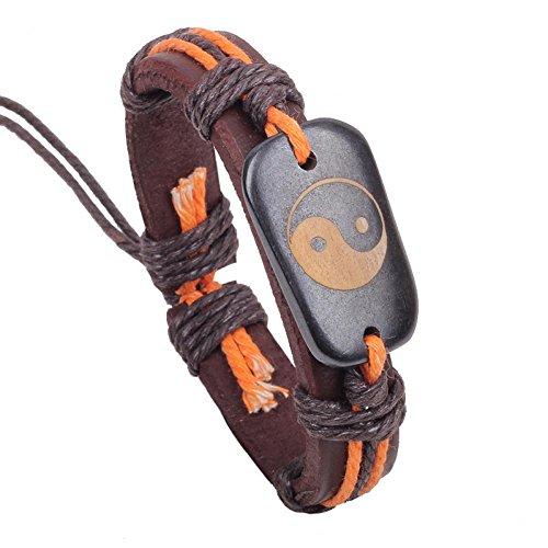 Superior Trade genuine leather bracelet string bone Chinese Tao taiji Taichi Symbol handmade bangle yinyang bracelet