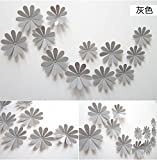 Lenofocus 12pcs 3d Flower Wall Stickers Decor Art Decorations 3 Size (Grey) Picture