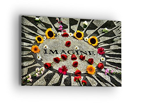 Imagine Strawberry Field New York Canvas Wall Art - New York Series - Professional Quality Print Gallery Wrap Modern Home Decor - Ready to Hang - Made in USA