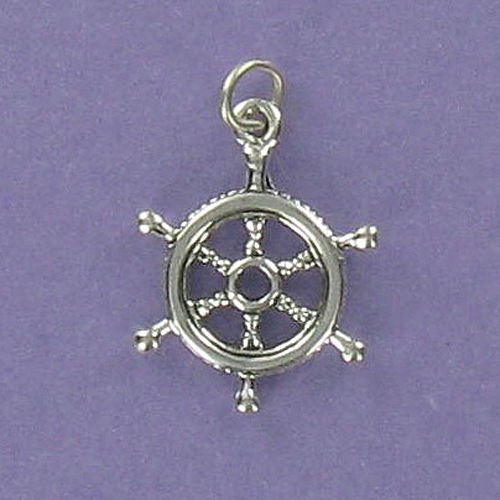 Ship Wheel Charm Sterling Silver for Bracelet Ocean Nautical Captain Steer Boat - Jewelry Accessories Key Chain Bracelets Crafting Bracelet Necklace Pendants (Nautical Charm Pin)