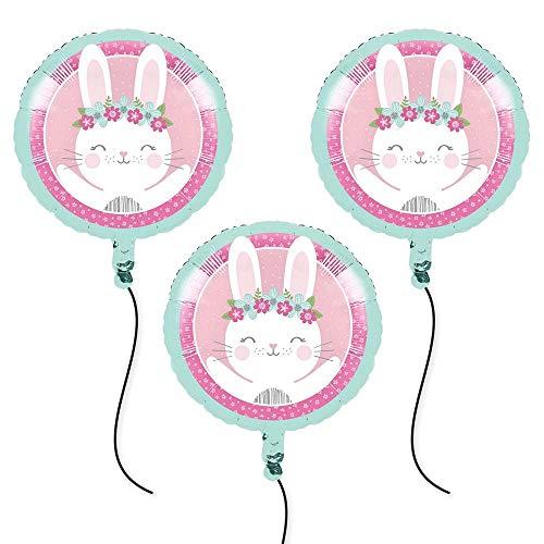 1st Birthday Bunny Foil Balloons (3) -