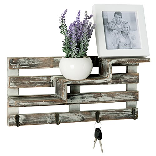 Rustic Torched Wood Wall Mounted Entryway Organizer Display Shelf Rack with 4 Key Hooks