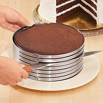 Demarkt Cortador Circular retráctil ajustable DIY de acero inoxidable capas Slicer conjunto Mousse molde cortar para tarta: Amazon.es: Hogar