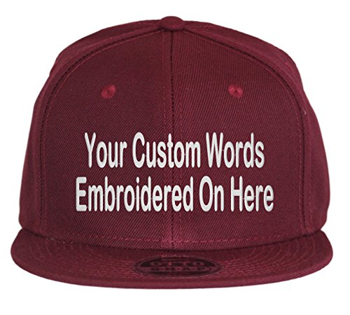 Custom Snapback Hat. Otto. Embroidered. Your Own Text Flatbill Bill Snapback. (Maroon)