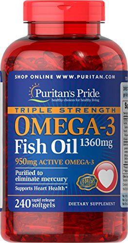 Puritan's Pride Triple Strength Omega-3 Fish Oil 1360 mg (950 mg Active Omega-3)-240 Softgels