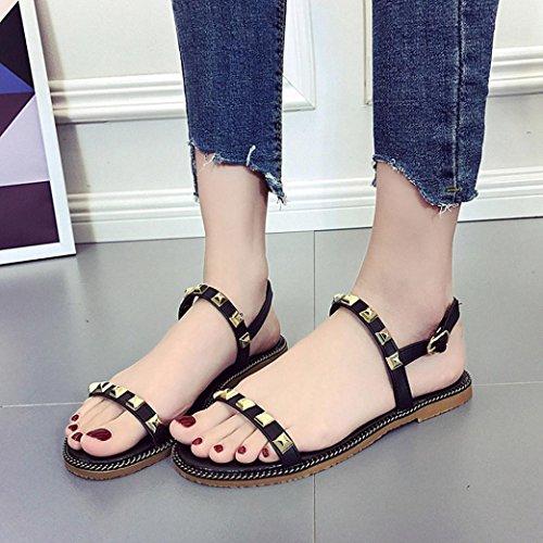® Negro Despeje Mujeres Ouneed Bastante Talón Sandalias Zapatos Remache Decoración Casual Plana dUTRxqZ