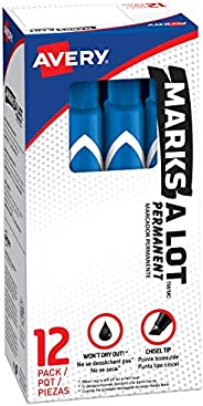 Avery Marks-A-Lot Permanent Markers, Large Desk-Style Size, Chisel Tip, Water and Wear Resistant, 12 Blue Mark