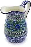 Polish Pottery 6 Cup Pitcher made by Ceramika Artystyczna (Wild Diamonds Theme) Signature UNIKAT + Certificate of Authenticity