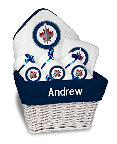Designs by Chad and Jake Baby Personalized Name Winnipeg Jets Medium Gift Basket One Size White