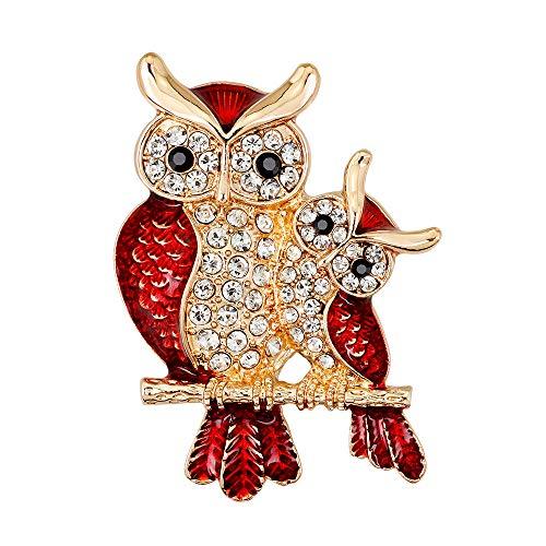 (Potelin Premium Quality Women Enamel Owl Shape Rhinestones Brooch Pins Brooches Clip Gift for Female)