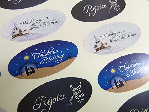 Christmas Envelope Labels (Pack of 30 Christian, Religious Christmas Oval Stickers, Colorful Envelope Seals Labels for Cards, Festive Craft and Decoration)