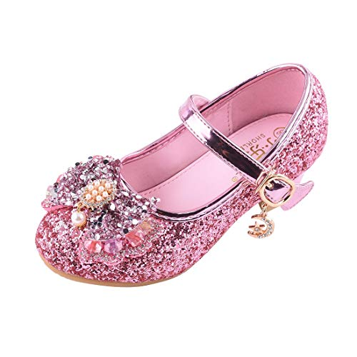 YIBLBOX Kids Girls Mary Jane Wedding Party Shoes Glitter Bridesmaids Low Heels Princess Dress - Shoes Party Glitter
