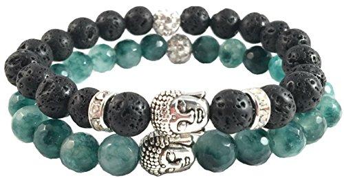 Buddha Bracelet Green Round Womens