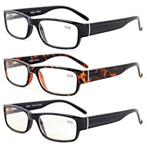 Eyekepper 3-Pack Quality Spring-Hinges Reading Glasses Include Computer Glasses +0.5