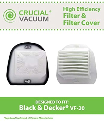 Black & Decker VF20 WASHABLE, REUSABLE VF20 DustBuster Filter Plus Cover; Compare With Black & Decker Vacuum Part # VF20, VF-20, 499739-00, 49973900; Designed & Engineered by Crucial Vacuum