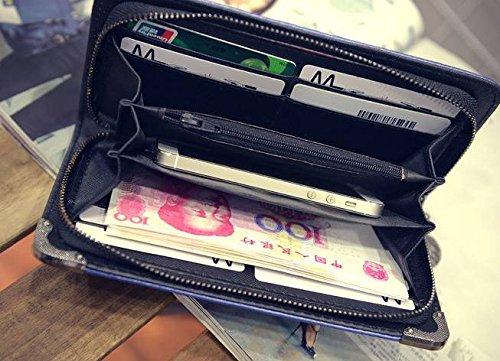 Dépolissement Jointif Clé Main Bleu en COMVIP Trousse Sac monnaie H Clair Cuir Noir à Porte de qXxgIU