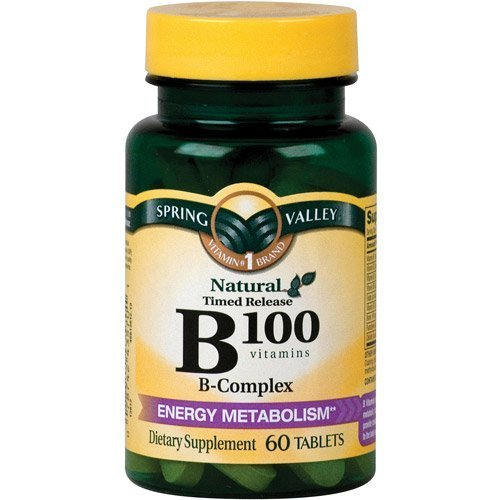 Spring Valley Natural Time Release B-Complex Metabolism Support B100, 60 Tablets (Spring Valley B Vitamin)