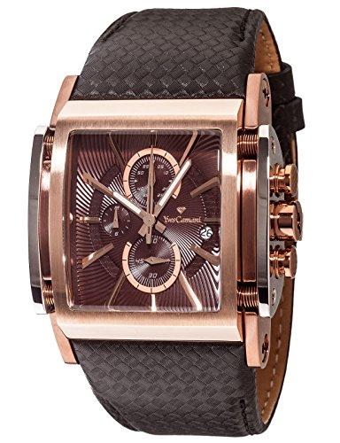 Yves Camani Escaut Men's Quartz Watch Coffee Rosegold Chronograph YC1060-E Leather Strap