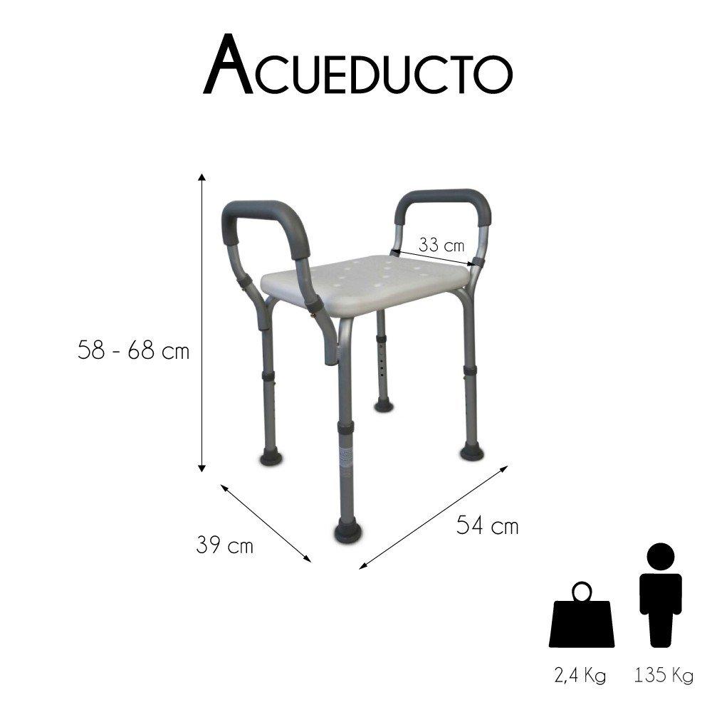 Mobiclinic, Silla para baño, Aluminio y PVC, Altura regulable, Reposabrazos, Acueducto