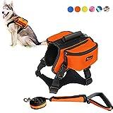 DFSP Dog Backpack Adjustable Self Saddle Bag Carrier Dog Vest Harness Hound Bag for Hiking Walking Camping(Orange)