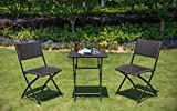SunLife Bistro Set-3 Folding Square Table and 2 Chairs,Indoor Patio Furniture Wicket Set Backyard Lawn(Teak)