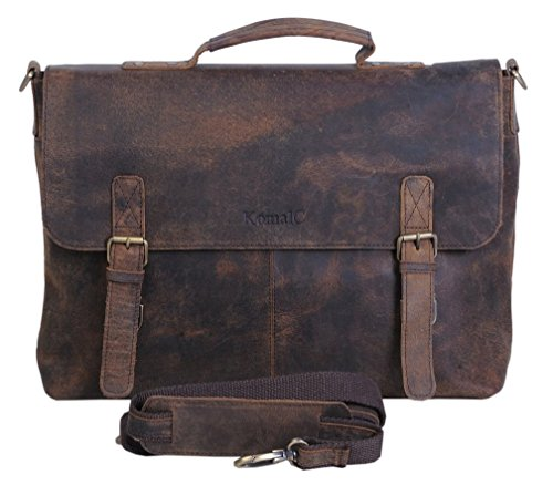 KomalC 15 Inch Retro Buffalo Hunter Leather Laptop Messenger Bag Office Briefcase College (Leather Messenger Laptop Bag)