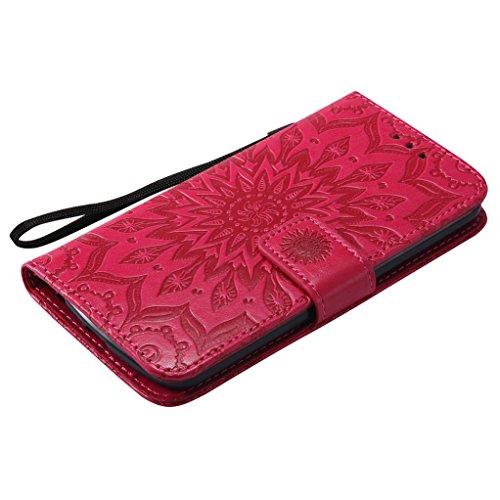 Trumpshop Smartphone Carcasa Funda Protección para LG K10 [Púrpura] 3D Mandala PU Cuero Caja Protector Billetera Choque Absorción Rojo