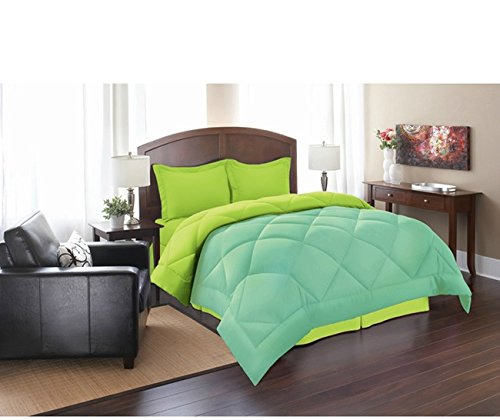 PH 3 Piece King Aqua Lime Reversible Comforter Set, Down Alternative, Luxury Bedding, Piped Edging, Soft Hypoallergenic, Double-Needle Stitching, Stain Resistant, Light Green Blue, - Piped Edging