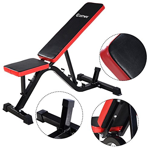 COSTWAY Adjustable Sit up Incline Abs Bench Red by COSTWAY