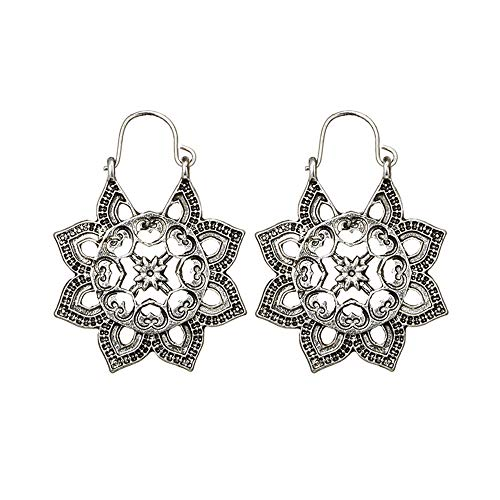 Clearance! Hot Sale! ❤ Antique Silver Gypsy Indian Tribal Ethnic Hoop Dangle Mandala Earrings Boho Under 5 Dollars Valentine's Day Gifts for Girlfriend 2019 New ()