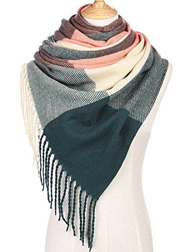 Womens Plaid Blanket Fashion Scarf Winter Warm Tartan Checked Shawl Soft Cashmere Pashmina Wrap Shawls Scarves With Tassels Pink Green