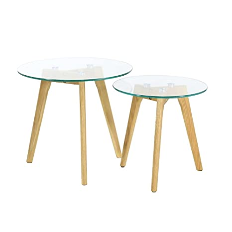 The Home Deco Factory Hd3207 Table Gigogne En Verre Trempe X2 Bois