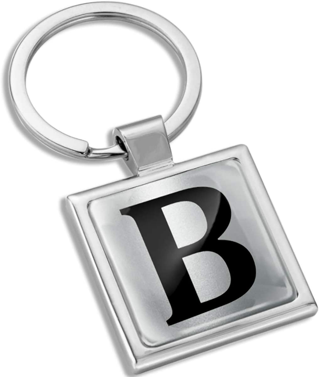 Biomar Labs 3D Metal A-Z Alphabet Personalized Name Initials Keyring Key Ring Chain Stainless Steel Gift Box Men Women Keychain Bag Accessories Jewelry Handbag Silver Letter B KK 132