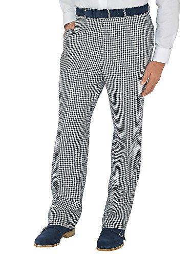 Paul Fredrick Men's Navy Check Pure Linen Flat Front Pants Navy 36