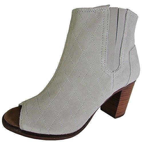 - TOMS Womens Majorca Peep Toe Boot Shoes, High Rise Grey Suede Quilted, US 12