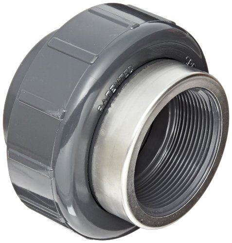 Spears 8059-SR Series PVC Pipe Fitting, Union with Viton O-Ring, Schedule 80, Gray, 1/2