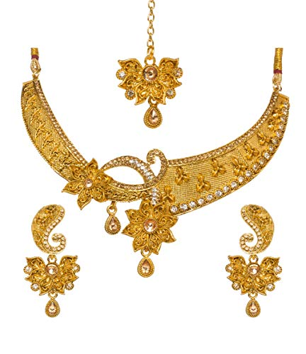 Bindhani Indian Jewelry Wedding Party Wear Bridal Bridemaids Antique Crafted Gold Plated Kundan Choker Necklace Earrings Tikka Set Designer Bollywood Style Jewellery Tika Set for ()