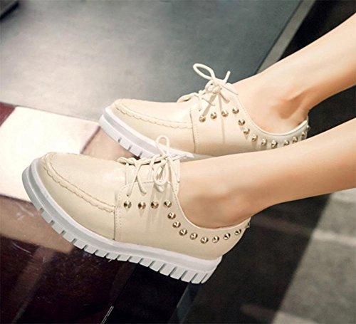 La signora della molla è aumentato femminile pizzo scarpe rivetti sceglie i pattini scarpe casual donna scarpe rotonda e piatta piano delle scarpe tacco crosta spessa focaccina scarpe , US5.5 / EU35 /