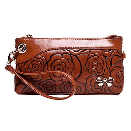 Shoe Leather Embossed Bag (Felice Fashion Floral Embossed Envelope Handbag Soft Leather Shoulder Cross-Body Bag (Light Brown))