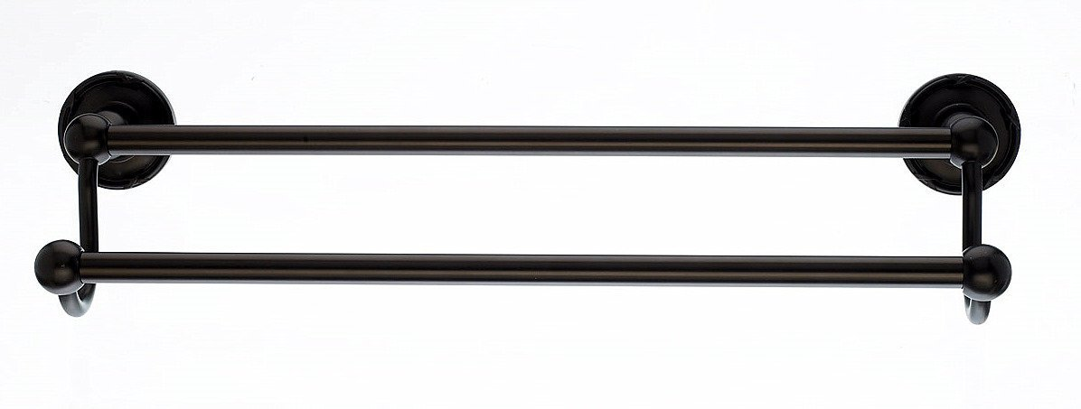 Top Knobs ED9ORBE Bath Edwardian Collection 24 Inch Double Towel Bar with Ribbon Backplate, Oil Rubbed Bronze Finish by Top Knobs