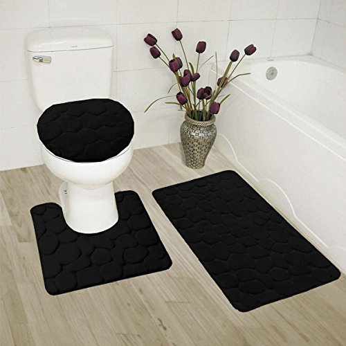 (BST3) ROCK New Bathroom Collection 3PC Set Memory Foam Bath Mat Contour Rug and Round Lid Cover Antislip Bathroom Assorted - Rock Shopping Round