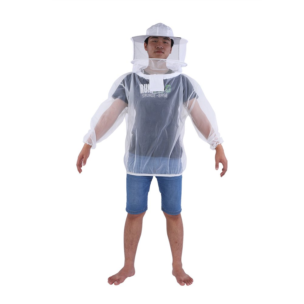 Professional Beekeeper Jacket Transparent Beekeeping Protective Suit Equipment with Hooded Veil