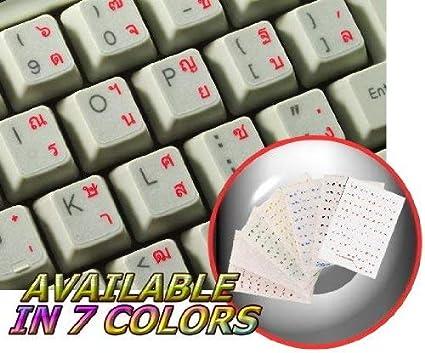 Adhesivo para teclado tailandés con letras rojas sobre fondo ...