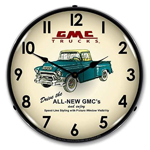 "GMC Truck 1956 Green Yellow Pickup Wall Clock 14"" Lighted Backlit GM Chevrolet Made USA Warranty"