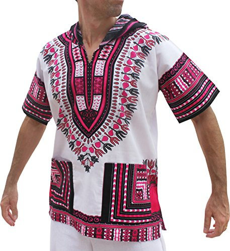 Full Funk Dashiki Light Hoody In White Base Colors Festival Party Shirt Short Sleeve, XXX-Large, White - Pink