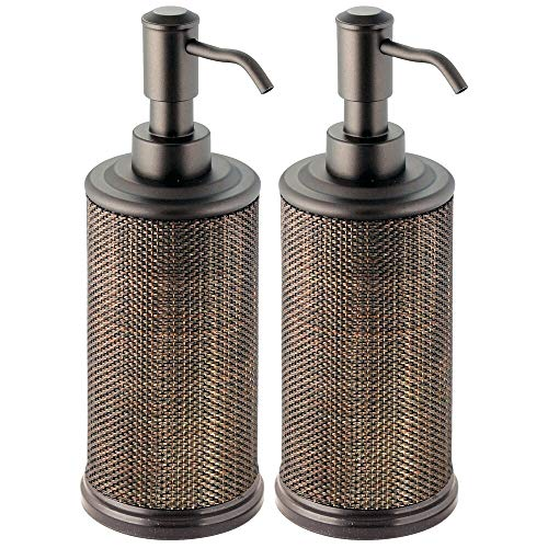 Bath Soap Dispenser Accessory - mDesign Round Metal Refillable Liquid Hand Soap Dispenser Pump Bottle for Kitchen, Bathroom | Also Can be Used for Hand Sanitizer & Essential Oils - Woven Accent, 2 Pack - Bronze