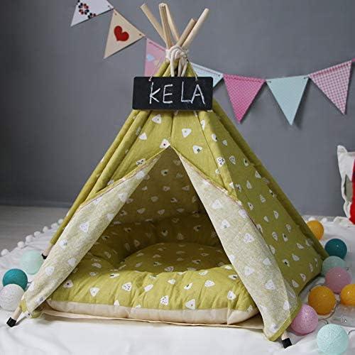 Tangzhan Tente en toile portable pour animal domestique - Lit pliable - Niche de jeu avec coussin amovible et lavable - Pour le camping, la plage, les voyages